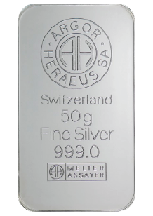 Purchase One kilo fine Silver bars crafted by Argor-Heraeus SA